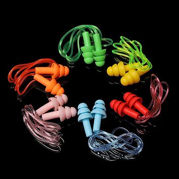 1 Pair Soft Silicone Ear Plugs with Rope Water Sports Hearing Protection Noise Reduction Earplugs Swimming Pool Accessories