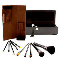 Signature Brushes: Luxurious 10 Piece Brush Collection (10x Brush, 1x Wooden Box) 10pcs+1box
