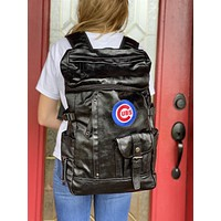 Cubs Black Leather Backpack