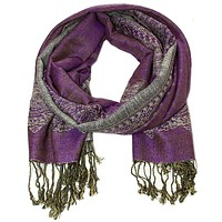 Double Sided Gray and Purple Pashmina