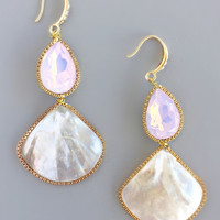 Pink Shell Iridescent Earrings