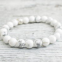 White howlite beaded stretchy bracelet, made to order yoga bracelet, mens bracelet, womens bracelet