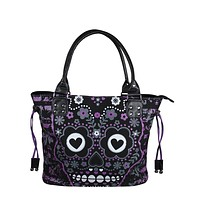 Punk Rock Purple Candy Flower Sugar Skull Cotton Canvas Shoulder Bag