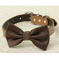 Brown dog bow tie collar, Pet wedding, Birthday Puppy gifts