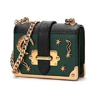 Prada Micro Cahier Green and Black Celestial Crossbody 1BH058