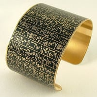 Book of the Dead Brass Cuff Bracelet - Heiroglyphic Egyptian Jewelry - Ancient Egyptian Hieroglyphs