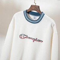Champion Women Men Trending Classic Embroidery Logo Sport Top Sweater Sweatshirt White