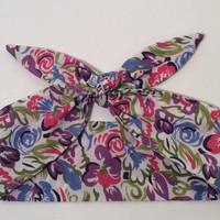 Dolly Headband, Tie-Up Hairband, Pink, Green, Blue and Purple - READY TO SHIP!