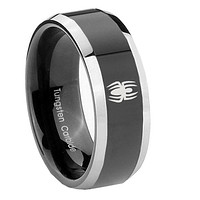 8mm Spiderman Beveled Edges Glossy Black 2 Tone Tungsten Mens Ring Engraved