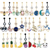 1PC Women's Gold Piercing Navel Gold 14G 316L surgical steel Crystal Flower Dangle Navel Belly Button Ring Body Piercing Jewelry