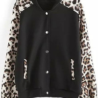 Black White Leopard Long Sleeve Buttoned Jacket
