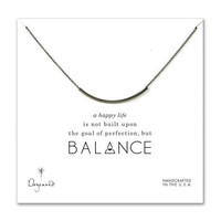 balance curved tube necklace, charcoal sterling dipped