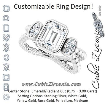 Cubic Zirconia Engagement Ring- The a'Malisa (Customizable 3-stone Emerald Cut Design with 2 Oval Cut Side Stones and Wide, Bubble-Bead Split-Band)