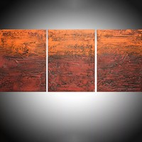 "ARTFINDER: - Orange Endeavour - three piece extra large triptych 3 panel wall art painting big canvas wall abstract canvas impasto modern 54 x 24"" by Stuart Wright - "" Orange Endeavour "" impasto modern art piece f..."