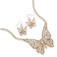 Ornate Butterfly Fashion Necklace and Earring Set