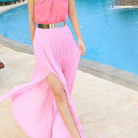Pink Halter Pleated Maxi Dress with Slit