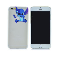 Cute Blue Lilo & Stitch Cartoon Painted Semi-Transparent Phone Back Case Shell Cover for Apple iPhone 6 6s 4.7""