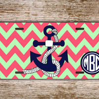 Personalized license plate - Pink coral and light green chevron - monogram license plate, name front car tag, chevron license plate (1248)
