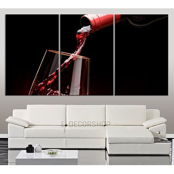 Large Wall Art Canvas Print Red Wine and Wine Glass Large and Great Wine Canvas Print