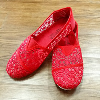 Lace Slip Ons In Red