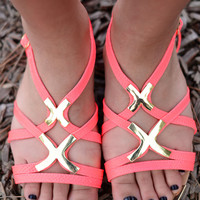 Hit The Road Sandals- Neon Coral