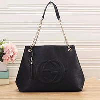 GUCCI Classic Fashion Women Shopping Bag Leather Handbag Tote Shoulder Bag Satchel Black