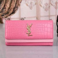 YSL Women Fashion Leather Buckle Wallet Purse-4