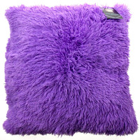 Neon Purple Shag Pillow Plush Throw 20x20 Polyester Living Room Sofa Bed Decor