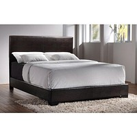 Queen Size Dark Brown Faux Leather Upholstered Bed with Headboard