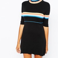 UNIF High Neck 70'S Knitted Dress With Rainbow Stripes