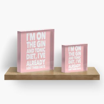 'Funny Gin Lovers quote' Acrylic Block by Sarah Davies