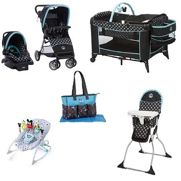 Disney Mickey Complete Baby Gear Bundle,Travel System,Play Yard,Diaper Bag