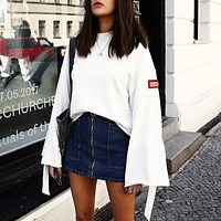 Women Casual Simple Personality Letter Badge Pagoda Sleeve Long Sleeve Loose Sweater Tops