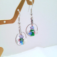 Silver Circle Venetian Glass Earrings - Handmade, Floral, Vintage Beads, Murano Glass, Clear Bead, Blue, Pink, Summer, Chic, Rose, Cute