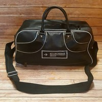 Vintage MTV Duffel Bag - Faux Leather Travel Bag - MTV Entertainment Group - Black Silver Luggage - Music Television