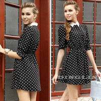 Vintage Women Casual Dress Ladies Female Long Sleeve Spring Autumn Polka Dot Print Tunic Preppy Party Vestidos Clothing CL1022