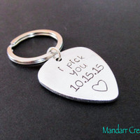 I Pick You with Custom Date, Aniversary Gift, Guitar Pick Keychain, Hand Stamped Aluminum, Couples Accessory