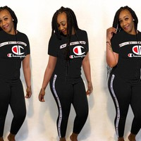 Black CHAMPION Tee Top and Pants Set Sportswear