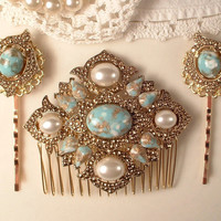 SET True Vintage Turquoise & Ivory Pearl Gold Bridal Hair Comb and Pins, Art Deco Antique Gold Aqua Blue Brooch to OOAK Hair Comb Bobby Set