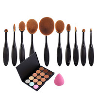 Makeup Set Toothbrush Makeup Brushes+15 Colors Concealer + Powder Puff Cosmetic Beauty Oval Cream Puff Brushes Maquillage