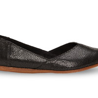 Black Crackled Leather Women's Jutti Flats US