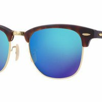 Ray-Ban Clubmaster RB3016 1145/17 Matte Tortoise/Blue Mirror Sunglasses - 49mm