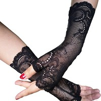Black Gloves Vampire Lace Gothic Gloves Fingerless Sexy Gloves A11
