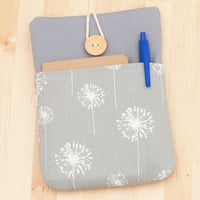 kindle paperwhite cover / kindle case / kindle 4 case / kobo mini case - dandelion in grey with pockets --