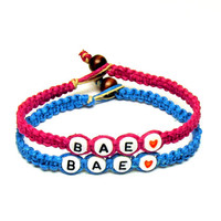 BAE, Before Anyone Else, Bright Blue and Dark Pink Hemp Bracelets for Couples or Best Friends