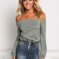 Sage Off Shoulder Tied Jersey Knit Top