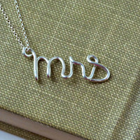 Sterling Silver Mrs. Necklace Personalized gift Personalized Bride Gifts Girlfriend gifts