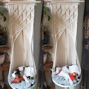Cat Swing Bed Cage Boho Style Handmade Hanging Sleep Chair Seats Tassel CatsToy Cotton Rope Macrame Tassel House Pets Supplies
