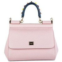 Dolce&Gabbana women's leather handbag shopping bag purse sicily dauphine pink
