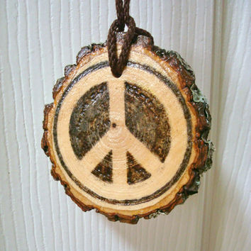 Handmade Peace Sign Rustic Wood Rearview Mirror Ornament Wood Car Keychain